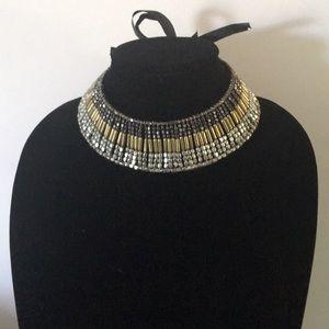Gold/silver grey beaded tie choker